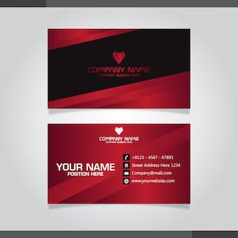 Профессиональный красный и черный дизайн визитной карточки