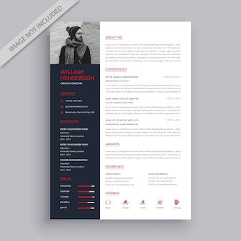 Professional red and black resume template