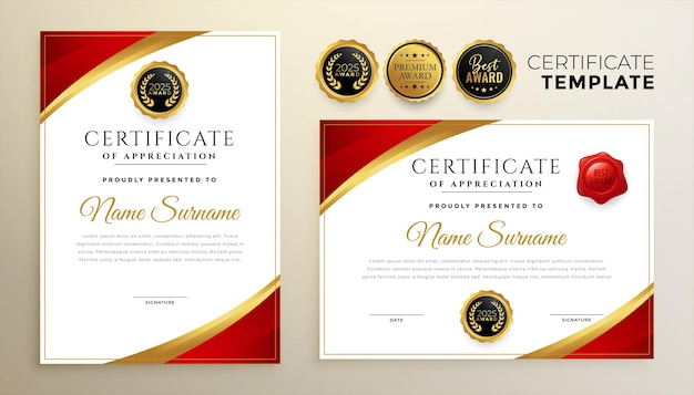 Professional red diploma certificate template in premium style