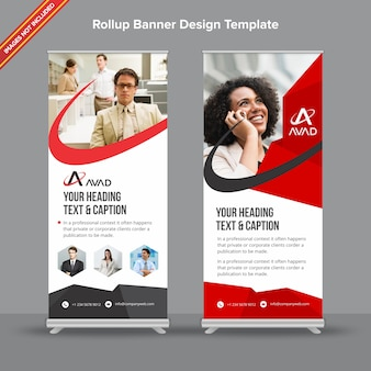 Professional red and grey rollup banner