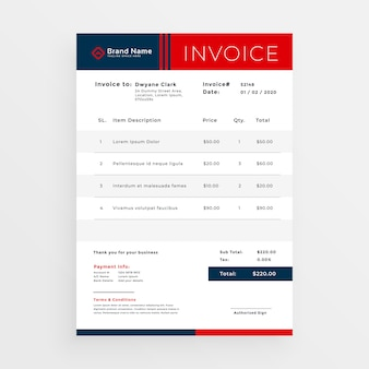 Professional red invoice template design
