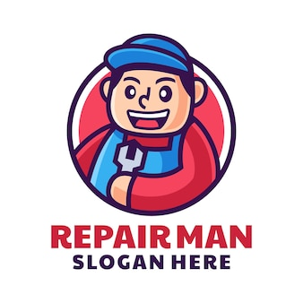 プロの修理工のメカニックのロゴ