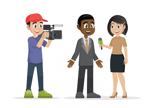 Professional reporter with microphone interviews