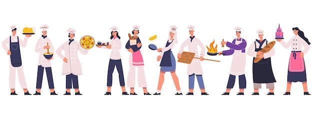プロのレストランシェフ、料理人、スーシェフのキャラクター。料理のシェフ、スーシェフ、パン屋のチーム、レストランの労働者のベクトルイラスト。食品業界のシェフのキャラクター