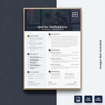 プロフェッショナル履歴書cv印刷テンプレートベクトルプレミアム