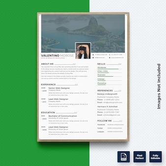 写真プレミアムベクトルでプロの履歴書cvテンプレート