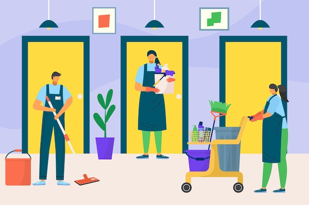 Professional room cleaning service woman and man character together cleanup apartment flat vector il...