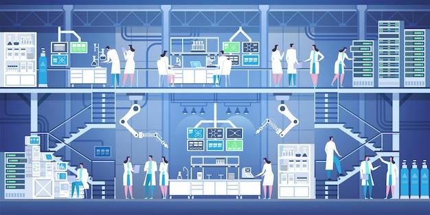 現代の実験室のインテリアにいるプロの科学者。