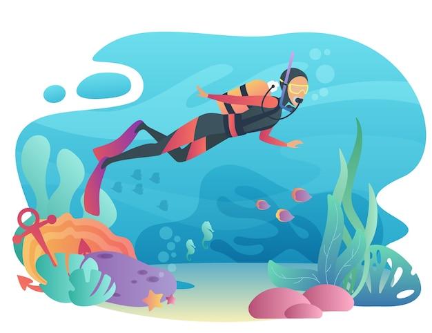 プロのスキューバダイバーの男が海に飛び込みます。水中水泳。スポーツアクティブな休日の夏休みの概念。