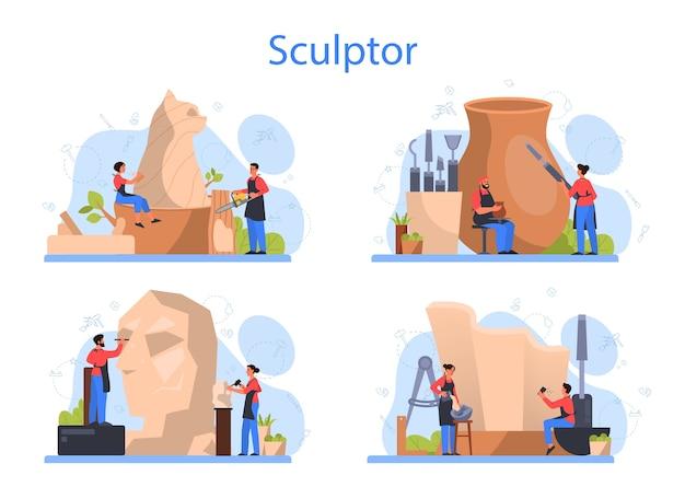 전문 조각가 개념을 설정합니다. 대리석, 나무, 점토 조각 만들기. 창조적 인 예술가. 예술과 취미.