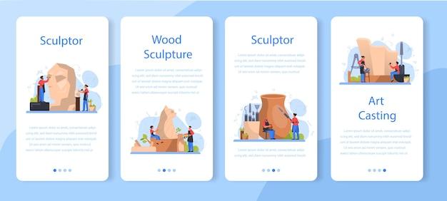 プロの彫刻家モバイルアプリケーションバナーセット。大理石、木、粘土の彫刻を作成します。クリエイティブアーティスト。アートと趣味。