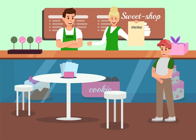Professional service in sweet shop promo