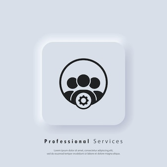 Professional services icon with setting sign. setup, manage, management. gear settings icons. vector eps 10. ui icon. neumorphic ui ux white user interface web button. neumorphism