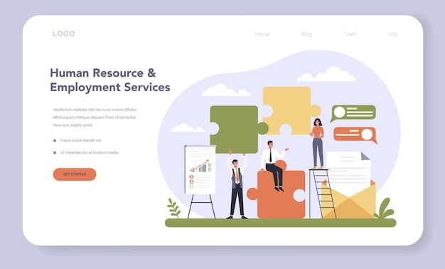 Professional services sector of the economy web template or landing page. human resourses and employment. idea of recruitment and job management. headhunter select worker. vector illustration