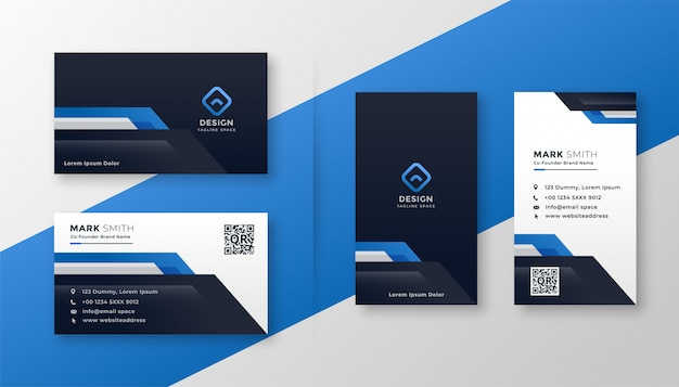 Professional set of blue geometric business card