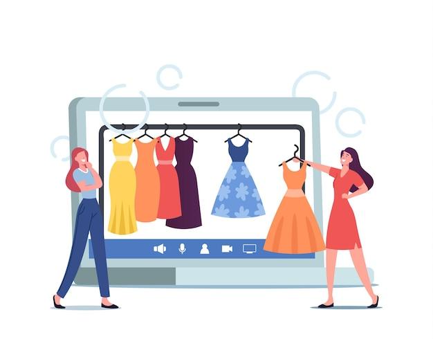 Профессиональный покупатель женского пола и личный модный стилист выбирают стильную одежду в интернет-магазине одежды. женщина разговаривает с консультантом по дизайну одежды. мультфильм люди векторные иллюстрации