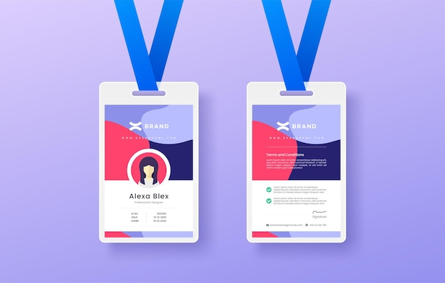 Professional simple and clean colorful modern company business or shop id card design editable Premium Vector
