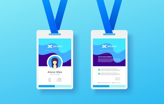 Professional simple and clean colorful modern company business or shop id card design editable