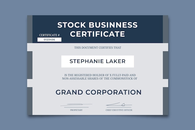 Professional simple medit stock business certificate