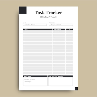 Professional simple task tracker business planner