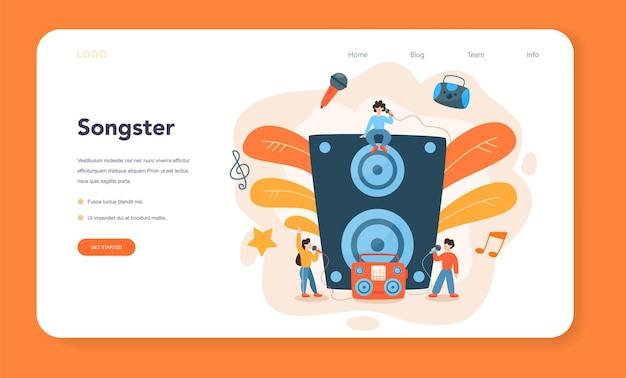 Профессиональный певец веб-баннер или целевая страница Premium векторы