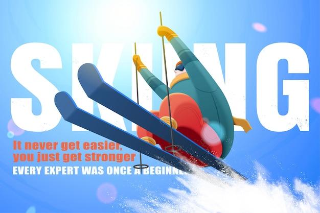Профессиональный лыжник прыгает в воздухе под блестящим голубым небом с брызгами снежного порошка под низким углом