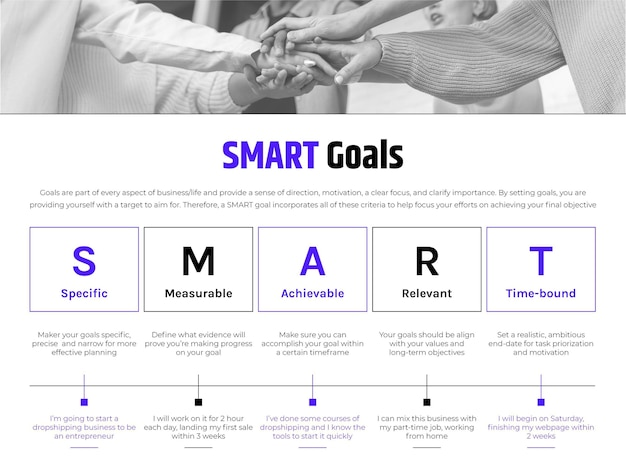 Infografica generale di obiettivi intelligenti professionali