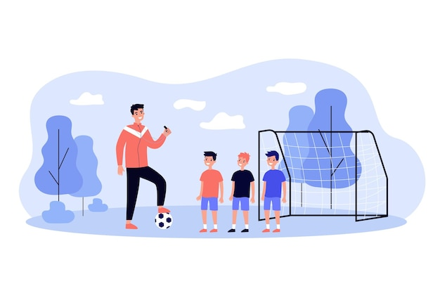 Professional soccer coach training little boys flat  illustration. cartoon man stepping on ball and teaching kid players on field. sport game and football school concept