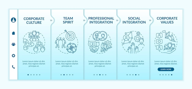 Professional and social integration onboarding  template. responsive mobile website. satisfaction and treatment of clients. webpage walkthrough step screens. rgb color concept Premium Vector