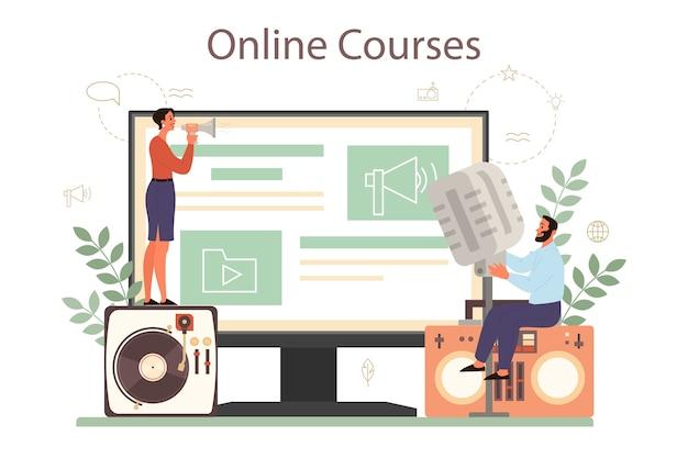 Онлайн-сервис или платформа профессионального диктора, комментатора или актера озвучивания. песон говорит в микрофон. онлайн-курс.