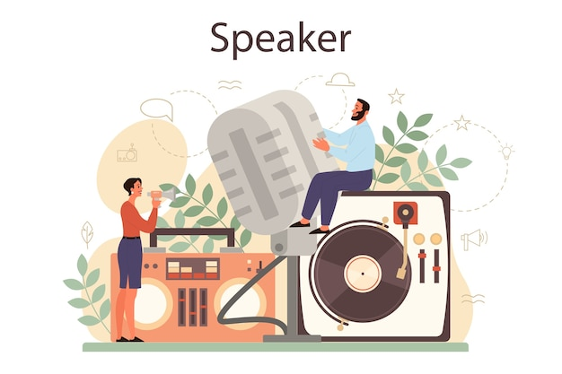 Professional speaker, commentator or voice actor concept. peson speaking to a microphone. broadcasting or public address. business seminar speaker.