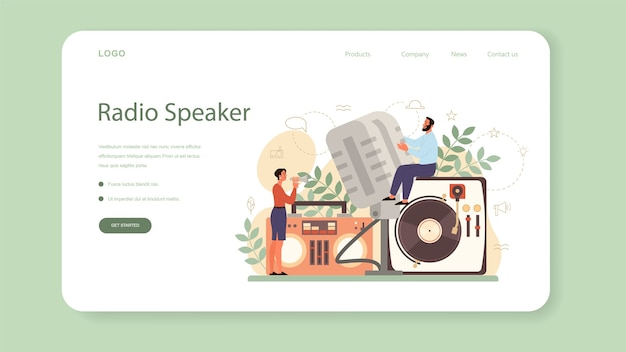 Professional speaker, commentator or voice actor web banner or landing page