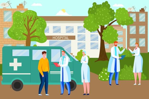 Профессиональный врач-специалист вместе стоит рядом с машиной скорой помощи с плоским вектором ...