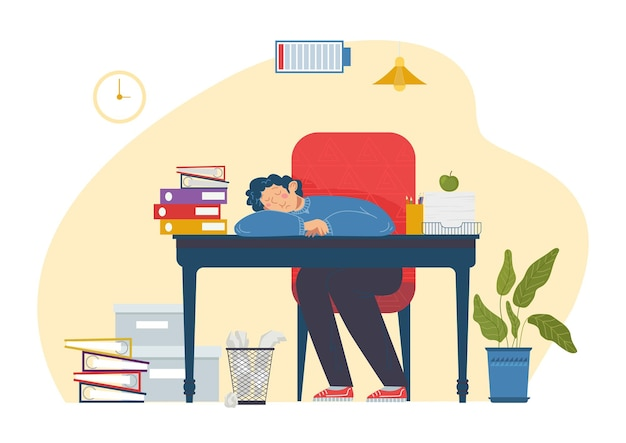Professional specialist male character sleeping at working place