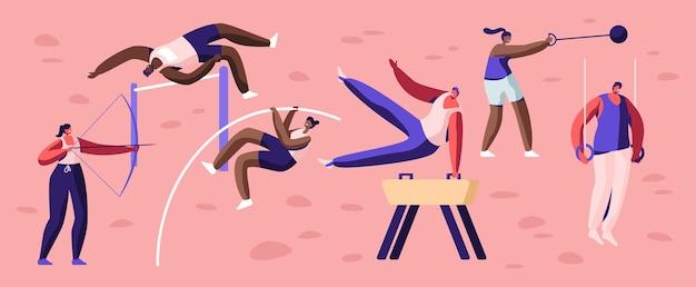 프로 스포츠 활동 세트. 남성과 여성 스포츠맨 캐릭터 운동. 높이뛰기, 높이뛰기 말, 장대 점프, 코어 샷, 활 사격, 체조 연습 만화 평면 벡터 일러스트 레이션