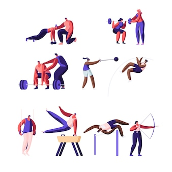 프로 스포츠 활동 세트. 남성과 여성 운동가 캐릭터 운동.