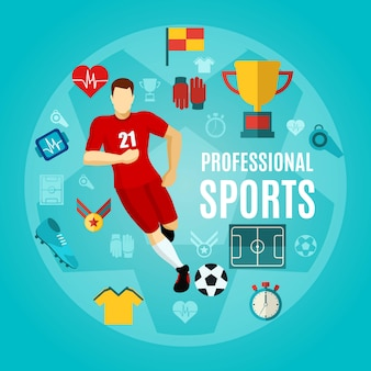 Professional sports flat icon set