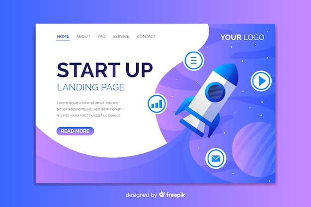 Professional startup landing page with rocket