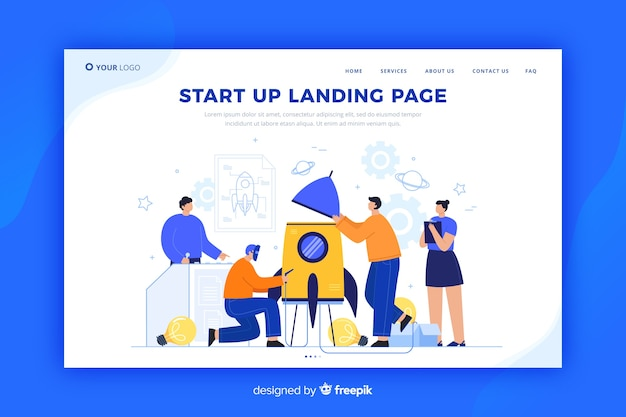 Professional startup landing page