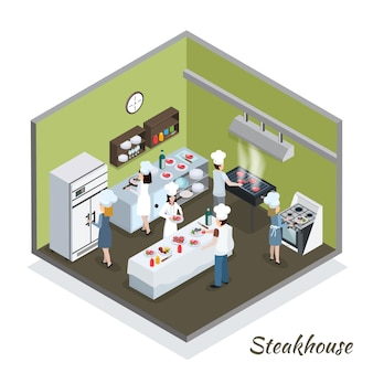Professional steakhouse kitchen interior isometric