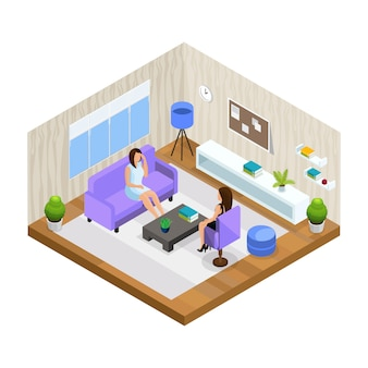 Professional support in stressful situations template with woman visiting psychologist in isometric style isolated