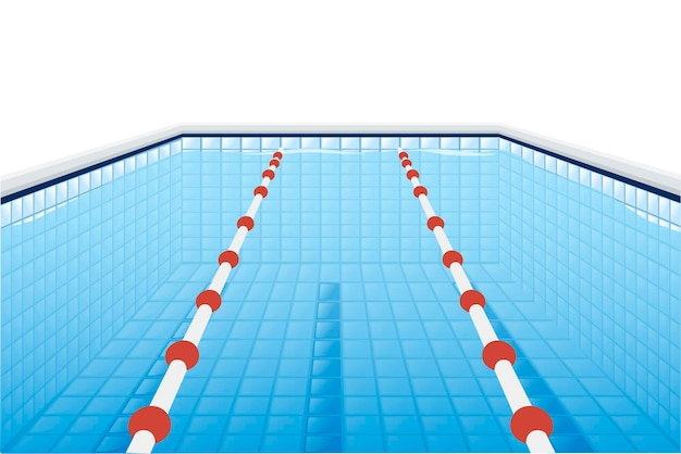 Professional swimming pool with paths for dip and water flat vector illustration on white background.