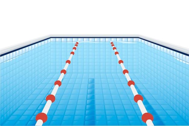 흰색 배경에 딥 및 물 플랫 벡터 일러스트레이션을 위한 경로가 있는 전문 수영장.