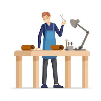 プロのタナー、スキナーフラットイラスト。若い職人、エプロンの漫画のキャラクターの幸せな革工房従業員。
