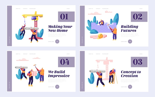 Professional team builder in process construction set landing page. worker on build house. people at work day. stage project building design for website or web page flat cartoon vector illustration