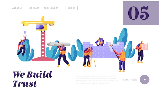Professional team builder in uniform in process construction landing page. worker engineer on build house work. stage project building design for website or web page flat cartoon vector illustration