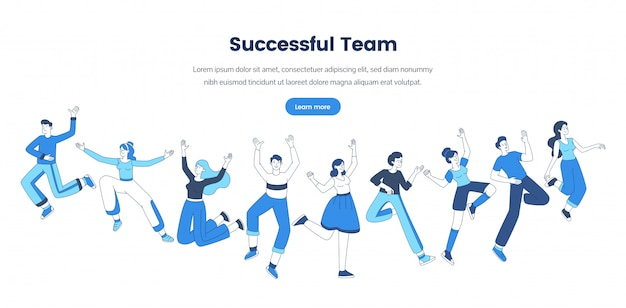 Professional teamwork web banner vector template. friendly office staff, business company website landing page concept. successful team, cheerful people group outline illustration with text space