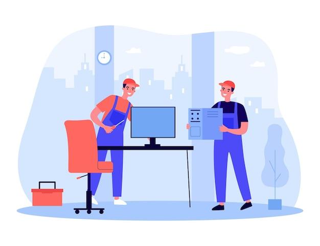 オフィスでコンピューターを修理する専門技術者。修理ツールフラットベクトルイラストと制服を着た男性。技術、バナー、ウェブサイトのデザインまたはランディングウェブページのコンピュータサービスの概念