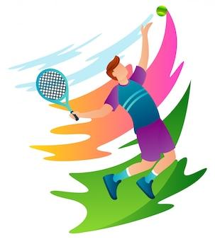 Профессиональные теннисисты бьют по мячу во второй половине дня тренировки.