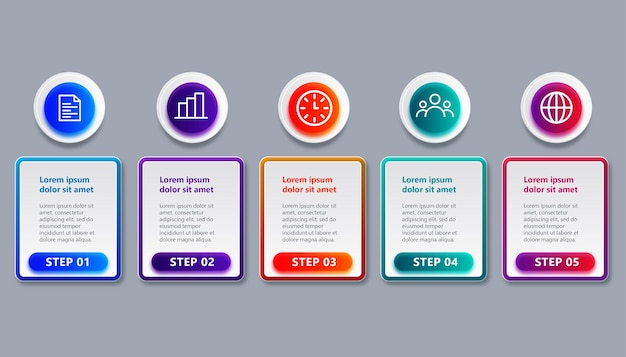 Профессиональный шаблон инфографики временной шкалы с 5 шагами